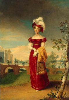 Portrait of Empress Elizabeth Alexeyevna in a Park in Tsarskoye Selo | George Dawe | Russia | 1820s | oil | Hermitage | Inventory #: ЭРЖ-611