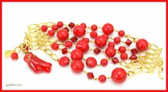 Red Swarovski pearls and crystals with red coral bracelet by Gay Isber Austin, Texas