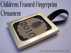 Under The Table and Dreaming: Children's Framed Fingerprint Ornament {No.13}