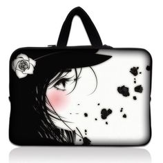 """Laptop Skin Shop 15.6 inch Laptop Sleeve Bag Carrying Case Pouch with Hidden Handle for 14"""" 15"""" 15.4"""" 15.6"""" Apple Macbook, GW, Acer, Asus, Dell, Hp, Sony, Toshiba, Girl with White Rose by LSS, http://www.amazon.com/dp/B0095B3VHO/ref=cm_sw_r_pi_dp_nbsdsb0GFBE71"""