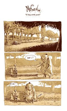 """This is the first page of a really great comic called """"A day at the park"""" by Kiriakakis. Click through to read the whole thing, it's definitely worth it!"""
