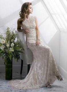 Amazing Sheath / Column Floor-length Zipper Wedding Dress 2014 at Promgirlshop.com