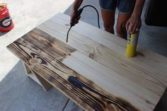 Coffee Table { Free DIY Plans Try burning the wood grain with a torch.Try burning the wood grain with a torch. Table En Bois Diy, Diy Table, Into The Woods, Saw Horse Diy, Torch Wood, Wood Plans, Diy Wood Projects, Wood Pallets, Wood Furniture