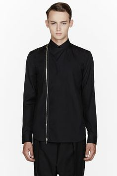 Givenchy Black Zippered Buttoned Shirt for men   SSENSE
