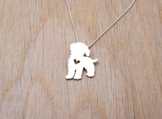 Cockapoo necklace sterling silver hand cut by JustPlainSimple on Etsy