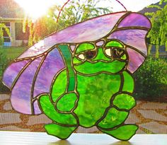Frog Stained Glass Sun Catcher ~ Glass Tree Frog ~ Garden Ornament ~ Lawn Ornament ~ Frog Collector Gift ~ Green Frog