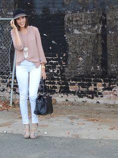 White Jeans   Tan Blouse   Black Bag   Black Hat   Nude Heels