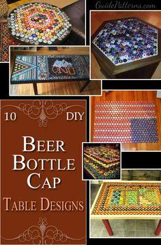 10 DIY Beer Bottle Cap Tables                                                                                                                                                      More