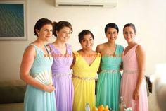 Beads Waistband Chiffon Mix  Bridesmaids Dress,Prom Dress One Strapless Simple Dress