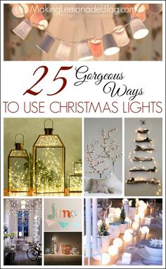 These ideas for using string lights all year long will have you running to dig out your Christmas decor! I LOVE these simple and creative ideas for bringing a warm, cozy glow into your home with budget-friendly string lights. {25 Gorgeous Ways to Use Christmas Lights}