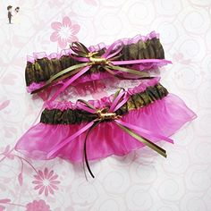 baf2c6de12e Customizable handmade - Camouflage fabric   fuchsia hot pink sheer organza  bridal prom camo garter set