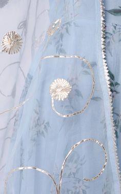 Powder Blue Printed Organza Anarkali with Gota Work - LabelKanupriya Neck Designs For Suits, Kurti Neck Designs, Kurti Designs Party Wear, Dress Designs, Blouse Designs, Lehenga Designs, Kurti Embroidery Design, Hand Embroidery Designs, Zardosi Embroidery