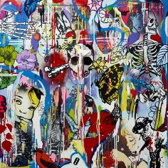British artist Dan Baldwin bridges the gap between abstract and figurative painting to create a landscape that simultaneously reflects reality, the power of the imagination and the private, inner workings of his mind. Dan Baldwin, Champagne Bar, Skull And Bones, Popular Culture, Figure Painting, Contemporary Paintings, Urban Art, Printmaking, Pop Art