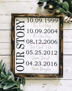 Teacher Signs Discover Our Story Sign Special dates framed wood sign Important dates sign Wedding sign Custom date sign Custom Wood Signs, Wooden Signs, Personalized Wood Signs, Diy Signs, Wall Signs, Important Dates Sign, Family Signs, Signs About Family, All That Matters