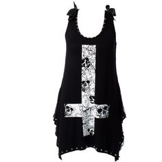 Jawbreaker Skull Cross Vest (Black) (52 CAD) ❤ liked on Polyvore featuring tops, shirts, tank tops and vests