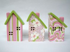 handmade little clay houses by bethwireworks on Etsy
