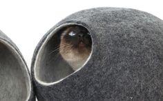 Maison de chat lit grotte fait main à partir de laine