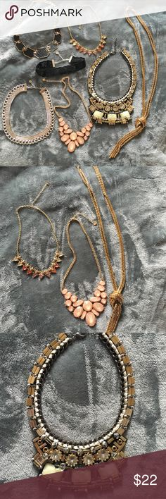Statement Necklaces A bundle of 7 necklaces that are all so different and sure to make a statement, including a lace choker! Never worn. Great condition. Jewelry Necklaces