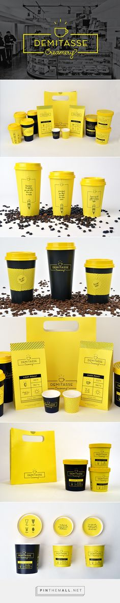 """Demitasse Creamery"" Identity + Packaging on Behance by Briand Boland curated by Packaging Diva PD. Yummy identity and packaging for fictional ice cream & coffee shop, Demitasse Creamery. Student work."