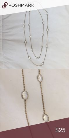 "Banana Republic Clear Stone Stationary Necklace Gold tone plated. Barely ever worn.  In excellent condition.  Double crossed. About 18"" drop. Banana Republic Jewelry Necklaces"