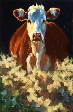"""Inspiration for a project :) """"Snack Attack"""" Russian Impressionist Artist: Cheri Christensen Cow Painting, Painting & Drawing, Josi, Farm Art, Impressionist Artists, Cow Art, Country Art, Mundo Animal, Art Abstrait"""