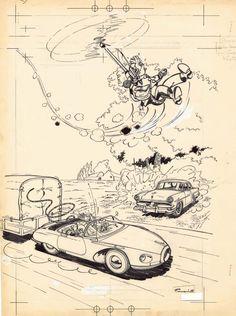 Spirou prend l'air - Dessin original Franquin