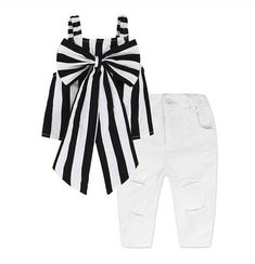 Children's Fashion Clothing for Girls Black Blouse Top and A Casual Jeans and Clothes Collar Group Suit 2 Piece Outfits, Two Piece Outfit, Vest Outfits, Kids Outfits, Baby Girl Fashion, Kids Fashion, Western Outfits, Cheap Girls Clothes, Sleeveless Outfit