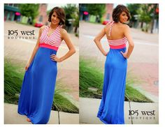 """Our """"Hey Sailor"""" Halter Dress available in S,M,L $38.99 ~ 105 West Boutique located in Abbeville, SC and Online!!! (864)366-WEST. Shipping $5. Look for us on Facebook and Instagram!!!"""