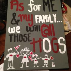 Arkansas #razorbacks !!! This is actually a really cute use for those stick figure families they sell in the mall!