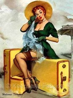 "Pinup prints-Cotton Sheet-Gil Elvgren Pinup- Handprinted Cotton Art Applique Vintage Sexy Pin-up Girl Gil Elvgren ""Welcome Traveler"" , 1955 Pin Up Vintage, Retro Pin Up, 1950s Pin Up, Photo Vintage, Vintage Art, Retro Pics, Vintage Quotes, Poster Vintage, Retro Art"