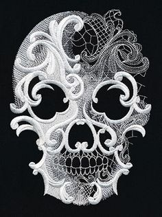 Craft spooky decorations for your haunted home! Layers of dimensional swirls, intricate lacy textures, and sheer painterly areas of stitching give this skull design an otherworldly edge.
