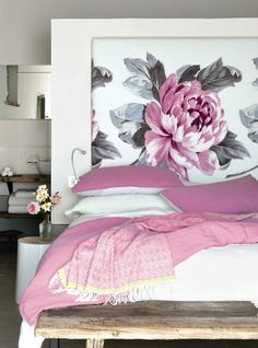 Serenity in the bedroom, with our Sofienberg floral print, as well as bedlinen and throw, as seen in Style at Home, Canada