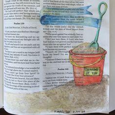 "Bible Art Journaling ""Psalms Sand Scripture"" by Kimberly Shaw, Psalm Scripture Art, Bible Art, Bible Scriptures, Bible Drawing, Bible Doodling, Bible Study Journal, Art Journaling, Scripture Journal, Bible Highlighting"