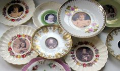 Decoupage photos, recipes, quotes, etc on Fiesta Saucers for kitchen deco.