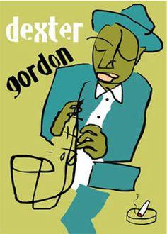 Dexter Gordon Signed Rare Jazz Saxaphone Art Blue Note by edavy63, $6.99
