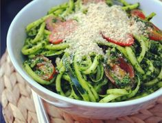 """Spicy Kale Pesto with Zucchini """"Noodles"""" and Almond Parmesan (spiralizer)"""