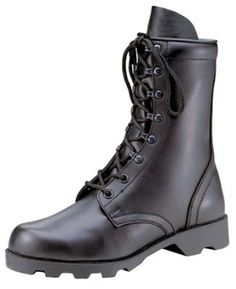 Black All Leather Combat Boot excellent for larger size work boots.