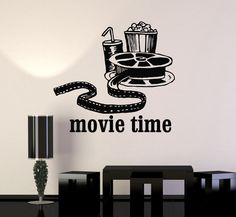 Vinyl Wall Decal Movies Cinema Film Popcorn Room Decor Stickers Mural (ig3342)