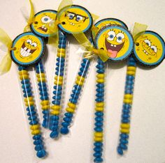 Spongebob Party Favor idea. My oldest son, Miles, is turning 6  in July and asked for a spongebob party.  Gotta start collecting ideas :)