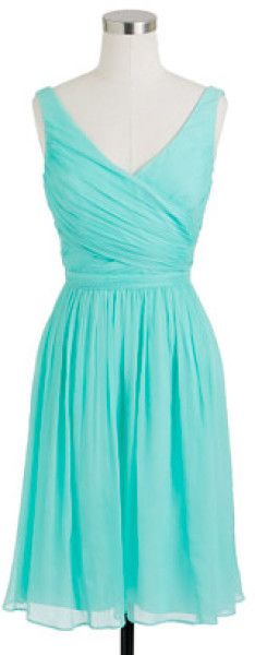 jcrew blue chiffon dress   crew Heidi Dress in Silk Chiffon in Blue (sunwashed aqua) - Lyst