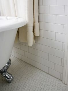 Traditional Classic White Bathroom Installation - Subway Tile and Hex Mosaics