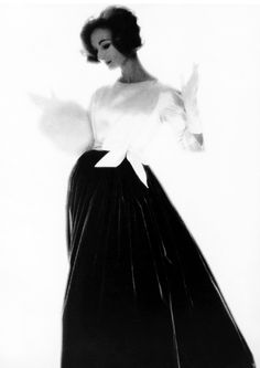 Evelyn Tripp, 1958, decades of white/black combo dresses with princess neck lines & flowing maxi skirting...still trending now...in the newest millennium.  Photo: Lillian Bassman.
