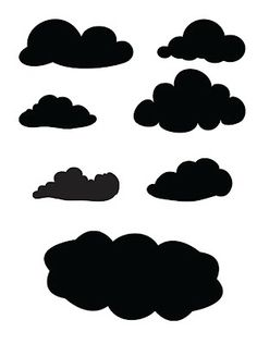 ok dont laugh but ive always been on the lookout for some nice cloud templates that I can print and cut myself for a dog layout about taking my precious babies to the dog park. Ive tried making free style clouds without success. Silhouette Images, Silhouette Portrait, Silhouette Files, Silhouette Design, Cloud Template, Ideias Diy, Scan And Cut, Stencil Patterns, Silhouette Cameo Projects
