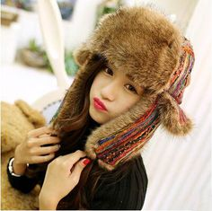 colorful bomber hat for winter warm plush hats