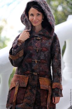 Купить пальто с капюшоном парка ручной работы - коричневый, пальто парка, пальто с капюшоном