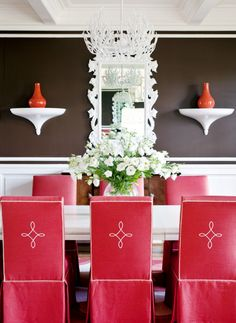 Dining chair covers nowadays have become a fashionable addition to the dining room furniture. Chair covers not only keep the upholstery clean, but also Red Dining Chairs, Dining Rooms, Red Chairs, Dining Set, Dining Table, Brown Walls, Dark Walls, White Walls, Red Rooms