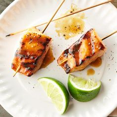 Caramelized Salmon Skewers. It's fish 'on a stick'.