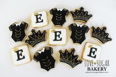 Love+Sugar Bakery Black White and Gold Royal Onesie Baby Shower Cookies
