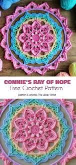 Free Pattern Available: Connie's Ray of Hope Free Crochet, Crochet Hats, Crochet Afghans, Crochet Blankets, Afghan Scarf, Book Organization, Crochet Mandala, Crochet For Beginners, Knit Patterns