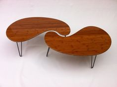 Nesting Kidney Bean Coffee Tables - Mid-Century Modern - Atomic Era Design In Bamboo - Comes in Pair of Two